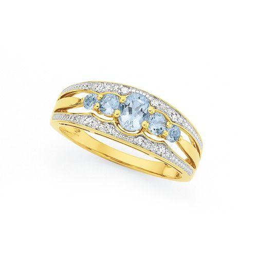 9ct Gold Aquamarine & Diamond Oval & Round Five Stone Band