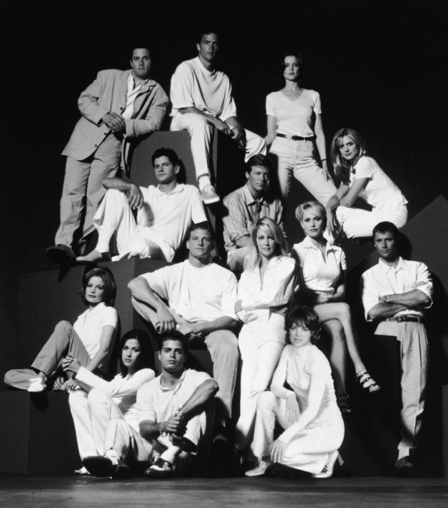 Heather Locklear, David Charvet, Rob Estes, Lisa Rinna, Grant Show, Courtney Thorne-Smith, Josie Bissett, Thomas Calabro, Marcia Cross, Brooke Langton, Laura Leighton, Doug Savant, Andrew Shue, Malachi Throne and Jack Wagner in Melrose Place (1992)