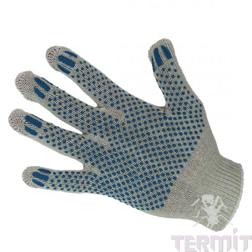 "Трикотажные перчатки белые 10 кл. Х/Б с ПВХ-Точка ""Лайт"""