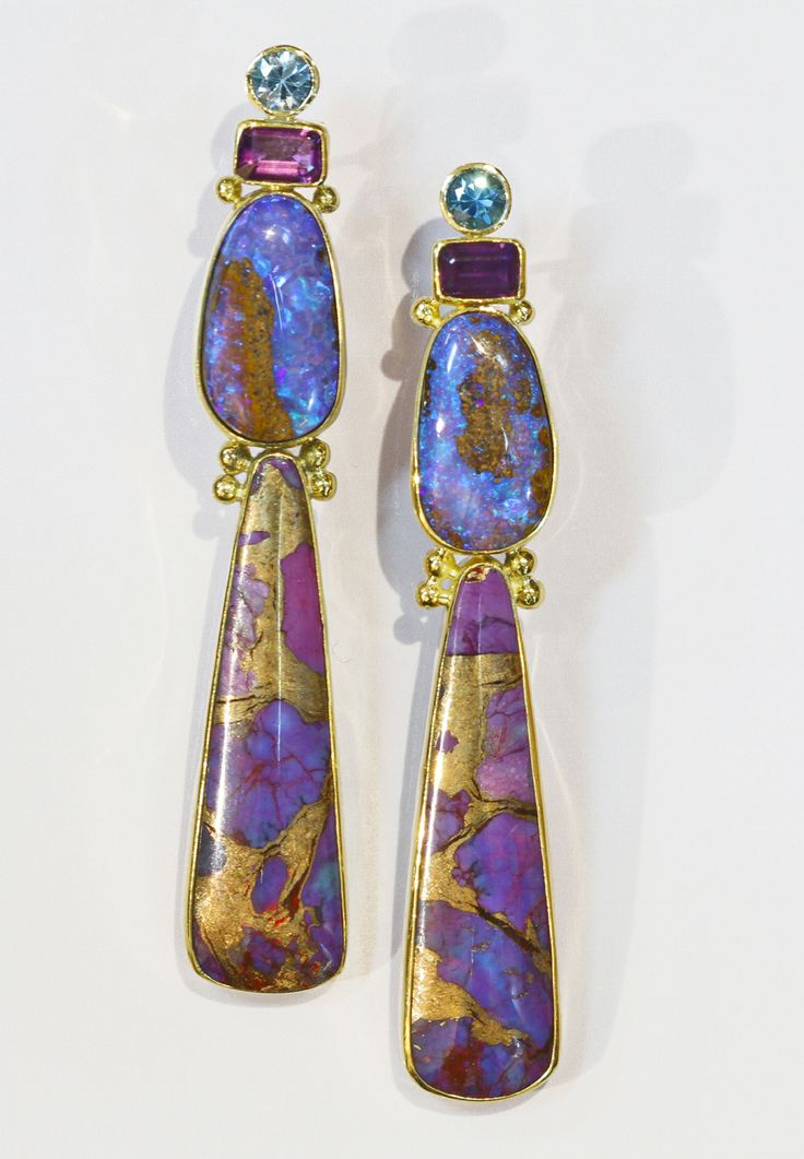 Boulder opal earring with dyed turquoise infused with bronze, amethyst, and apatite in 22k and 18k gold. By Jennifer Kalled; Opals from Bill Kasso, Eagle Creek www.kalledjewelrystudio.com