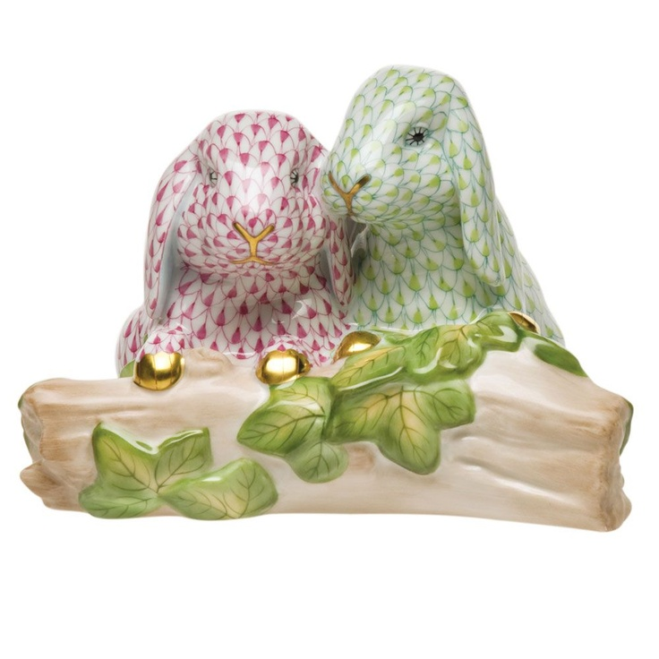 Herend Bunny Love Lime & Pink $1,950.00