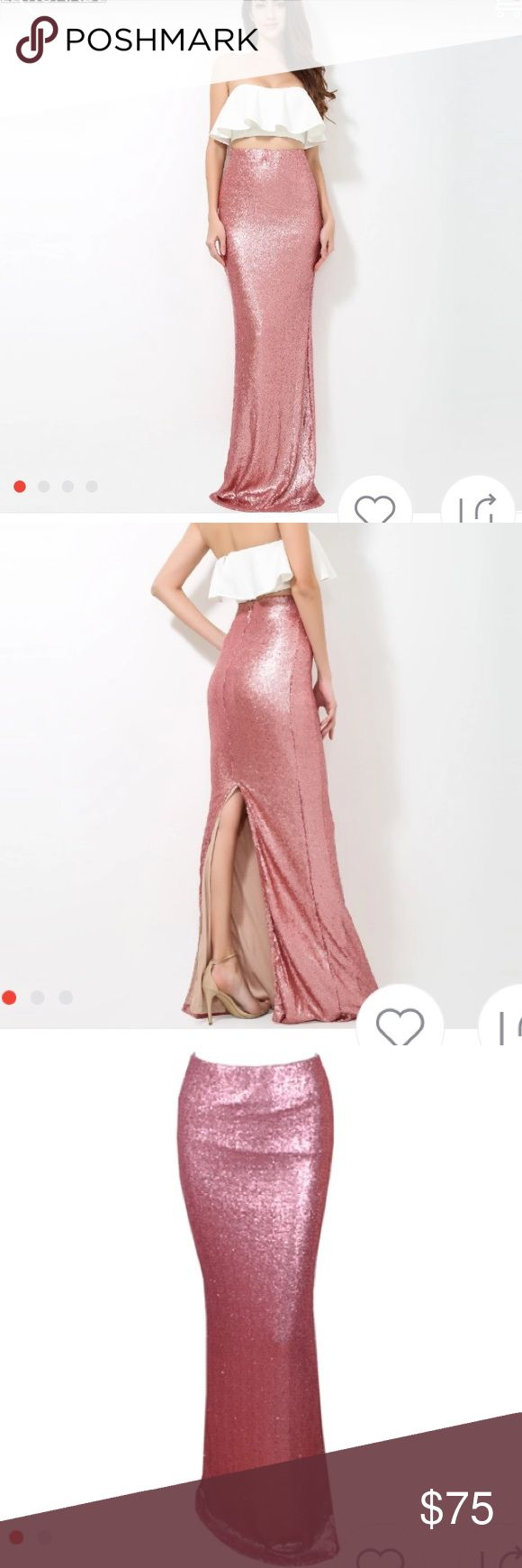GORGEOUS LONG SEQUIN SKIRT zLONG MAXI FITTED MERMAID STLYE.THE MOST BEAUTIFUL BLUSHY PUNK COLOR🎀SUPER SEXY SUPER SWEET Skirts Maxi