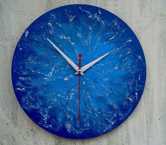 Blue texture wall clock  Modern wooden wall от ClockArtVintage