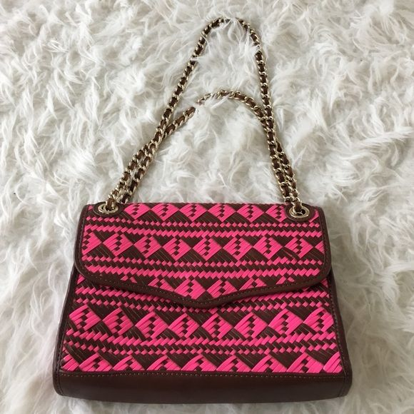 *BRAND NEW WITHOUT TAGS* Rebecca Minkoff Aztec print shoulder bag in pink and brown. Perfect condition!