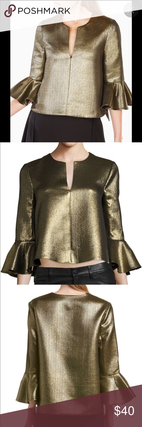 NWOT BCBG Valari Metallic Top NWOT BCBG Valari Metallic Bell Sleeve Top. This items is brand new and has never been worn. This is the perfect top for the holiday season and NYE. The gold finish and bell sleeve detail provide such a festive feel. Looks great with jeans or a skirt.  Crafted from a light catching Metallic jacquard this voluminous High-Low Top is punctuated with exaggerates ruffles sleeves and a plunging split neckline. Poly/cotton/metallic woven jacquard. Washable. Dry clean…