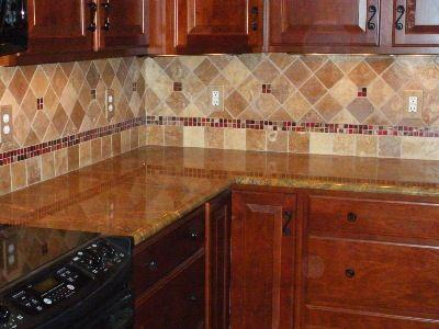 Travertine Tile Backsplash Noche Blend Tumbled Travertine With Glass Accents Kitchen Backsplash Pinterest More Travertine Tile Backsplash