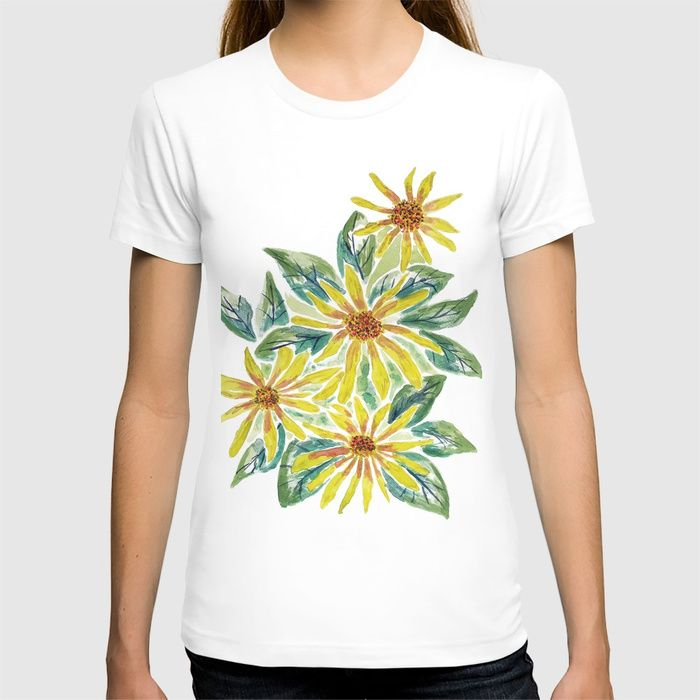 Yellow Watercolor Flowers T Shirt Zeichenbloq Watercolor