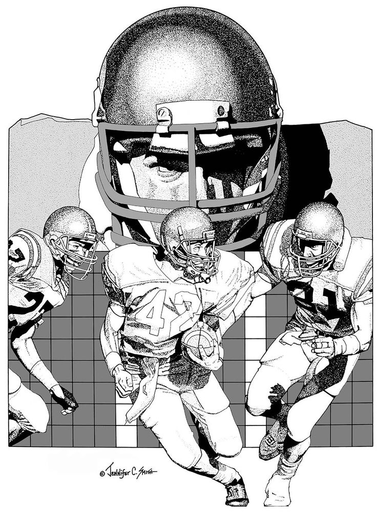 LET'S PLAY FOOTBALL pen and ink drawing limited edition giclee print signed and numbered football players quarterback college fan by JenSmithArtworks on Etsy