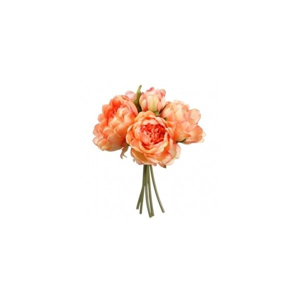 """9.5"""" Peony Silk Flower Bouquet -Coral (100 CAD) ❤ liked on Polyvore featuring home, home decor, floral decor, flowers, flower bouquets, fake flower arrangement, artificial flowers, flower stem and silk flowers"""