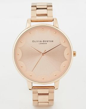 Olivia Burton Scalloped Edge Rose Gold Bracelet Watch asos