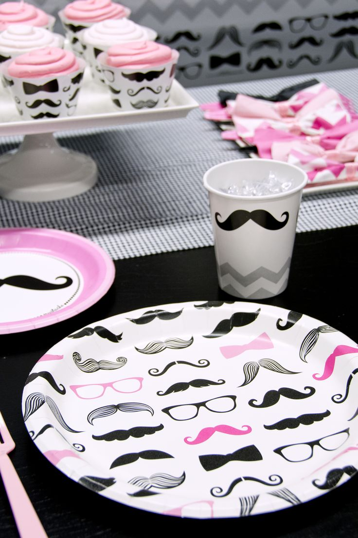 So cute! #pink #mustache #party #BirthdayExpress
