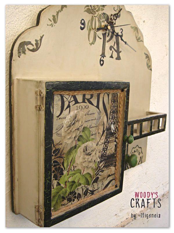 Ξύλινη Χειροποίητη Κλειδοθήκη-Ρολόι   Διακοσμητκά Τοίχου   Woody's Crafts by Ifigeneia   Ξύλινα Χειροποίητα Διακοσμητικά