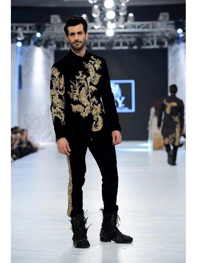 Best wedding sherwani in black and golden new short sherwani styles 2017 sherwani for men in pakistan