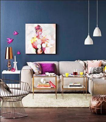 Blue walls with walnut floor
