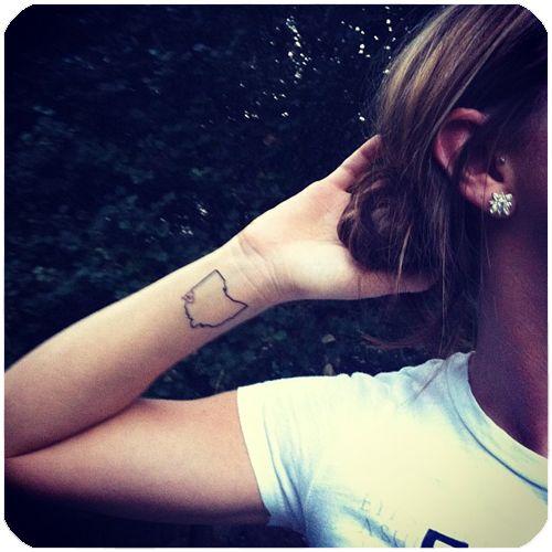 Cincinnati Ohio Tattoo Put mine on the back of my neck with akron as a cardinal