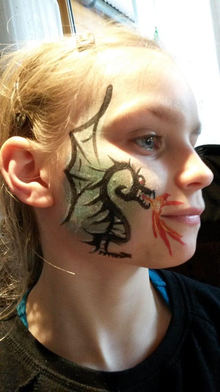 Facepainting dragon by kerstin