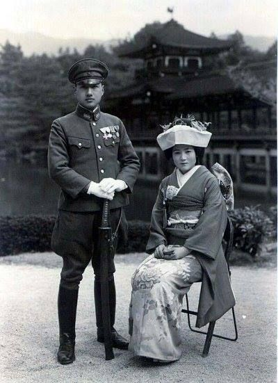 wedding ceremony on Mar. 1944 at Heian Shrine in Kyoto