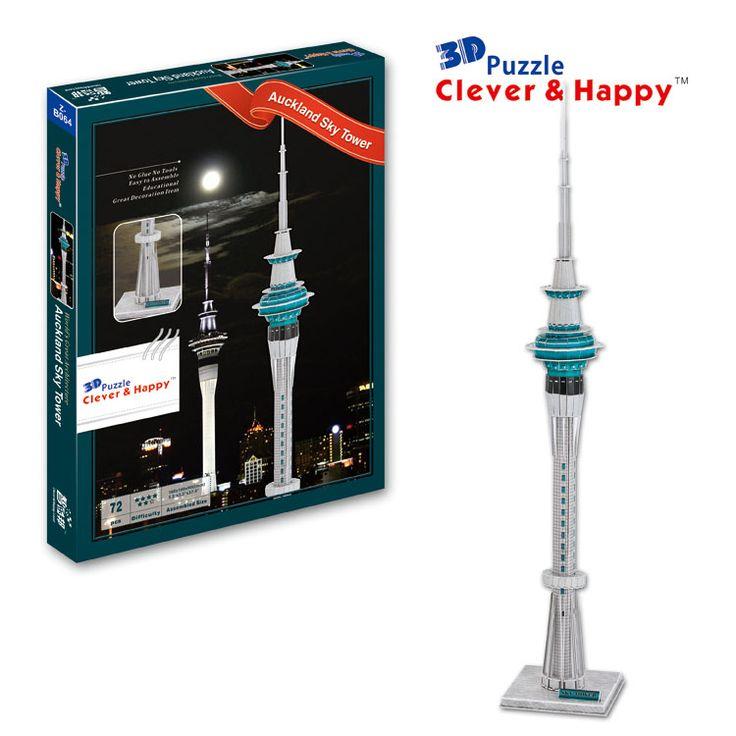 2013 новый умный и счастливую землю 3d модель головоломка Окленд Sky Tower взрослый рисунки diy модель для мальчика бумаги обучения и образование