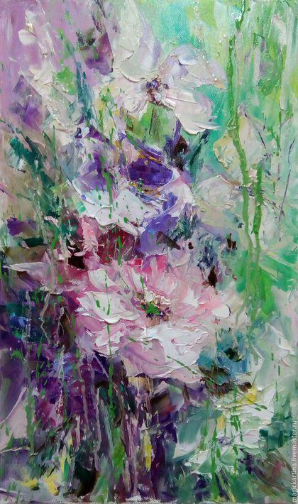Oil painting / `Состояние полЁта` - картина маслом, букет цветов
