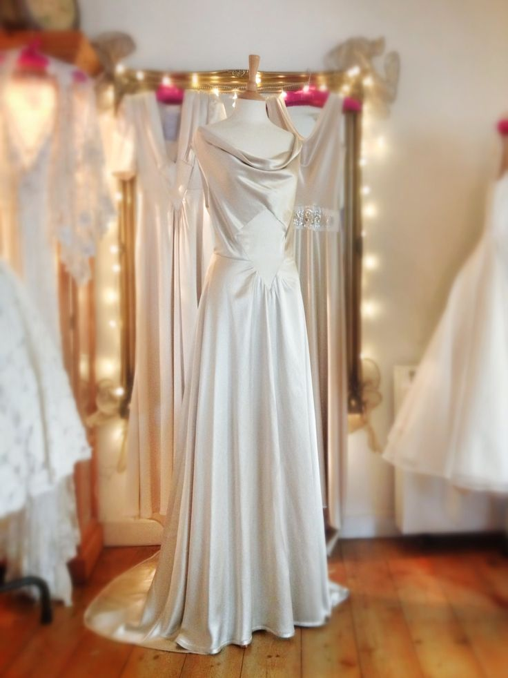 1930s style champagne silk satin wedding dress by joanne for Satin silk wedding dresses