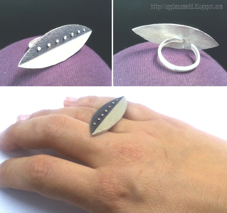 Black white and dots by apple named d Sterling silver ring