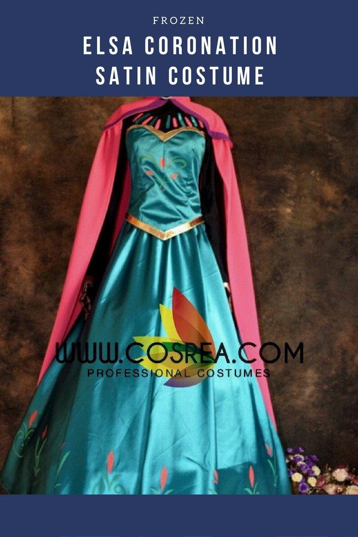 Frozen Elsa Coronation Satin Cosplay Costume