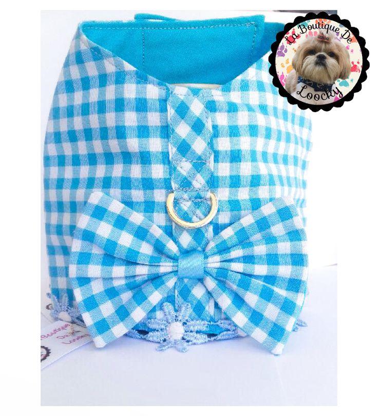 HARNAIS POUR CHIEN tissu Vichy bleu azur petite taille chihuahua, york... Tour de poitrine : 32,5-37,5 cm / cadeau pour chien / de la boutique laboutiquedeloocky sur Etsy