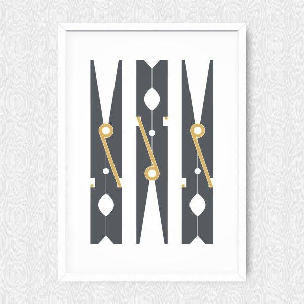 Affiche buanderie pinces à linge  http://www.homelisty.com/affiche-poster-buanderie/
