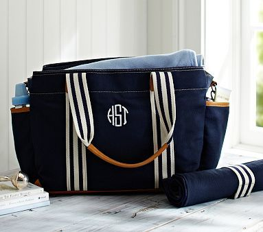 Navy Classic Mom Diaper Bag ... Just with a simple S monogram so it can trasition from baby to baby! #PotteryBarnKids