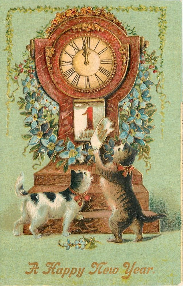 """vintage """"A Happy New Year"""" postcard cats"""