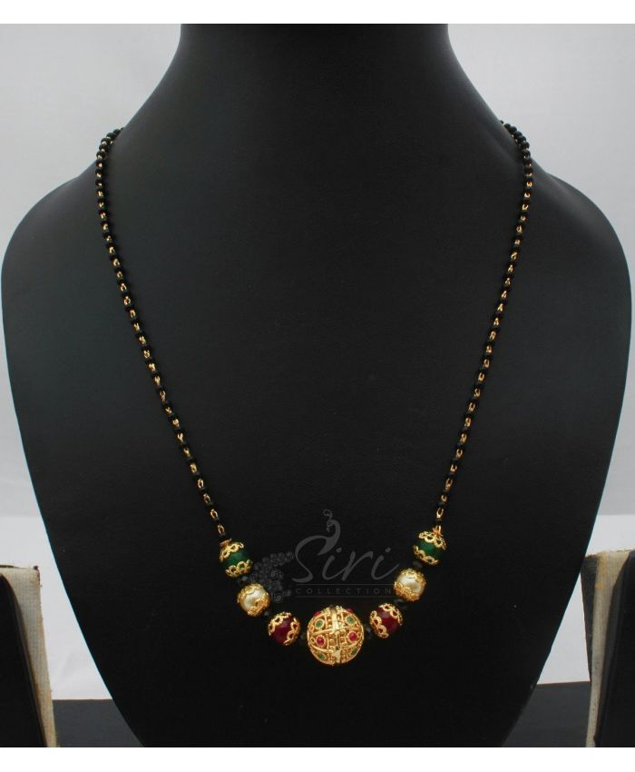 Black beads mangalsutra in onyx and gold ball