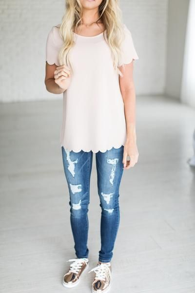 Blush Scallop Top - Mindy Mae's Market