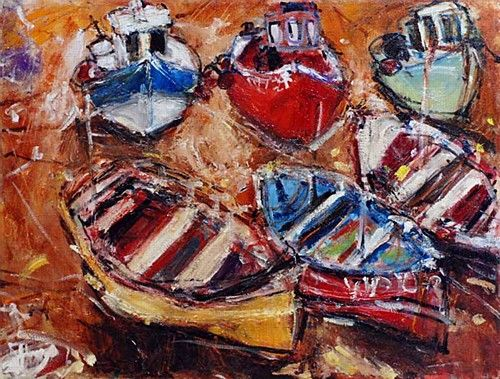 "Deborah Donnelly ""Boats resting Bulloch Harbour"" #boatofdreams #boats #sailing #art #painting #DukeStreetGallery"