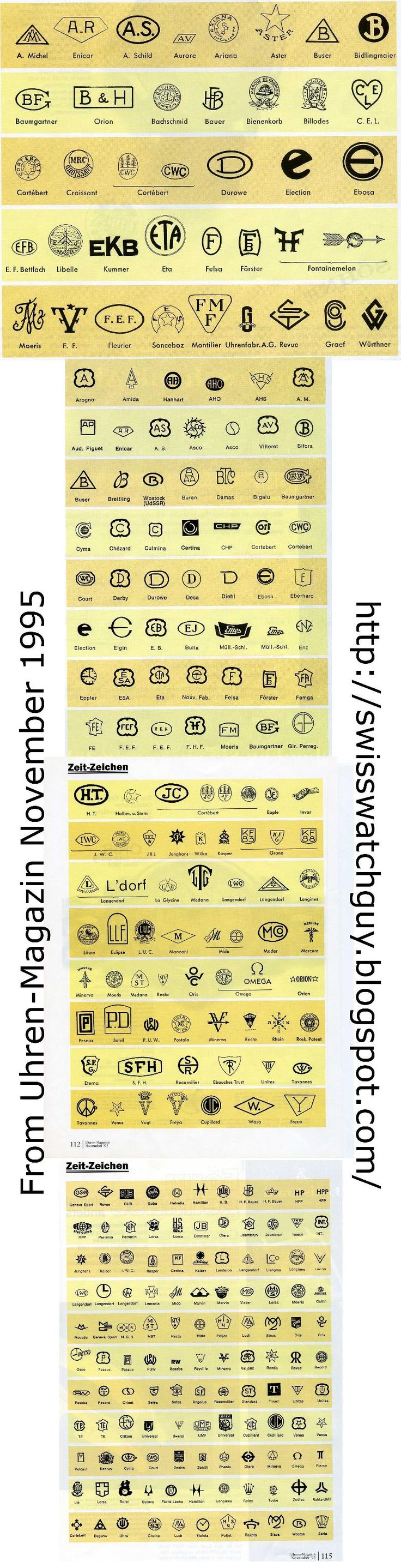 Graphic archive of Horological Logos and Hallmarks
