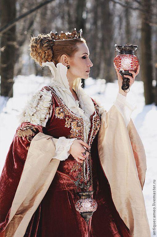 Купить Fairytale (средневековое платье) - ярко-красный, ведьма, средневековое платье, вышитое платье