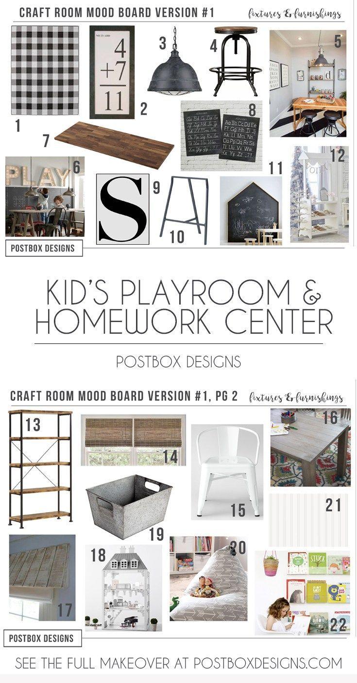 Postbox designs farmhouse kids playroom makeover kids craft room and homework center design via online interior design