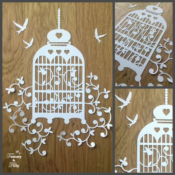 Birdcage Design - Papercutting Template to print and cut yourself (COMMERCIAL USE)