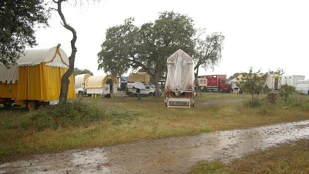 La hermandad cordobesa del Rocío sigue luchando contra las inclemencias meteorológicas en su camino hacia la aldea almonteña