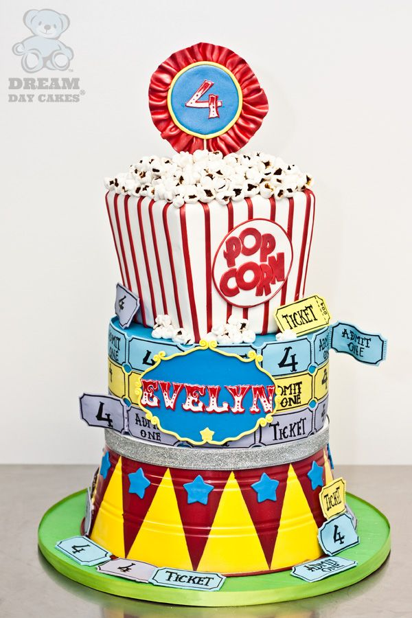 carnival birthday cake - another good idea, but I think movie theme when I see it.