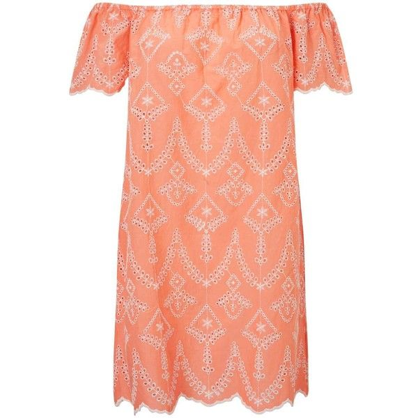 Miss Selfridge PETITE Coral Bardot Sundress ($76) ❤ liked on Polyvore featuring dresses, coral, petite, beachy dresses, petite dresses, embroidered dress, embroidery dresses and beach sundresses