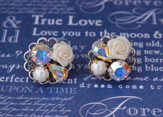 Bridal Earrings Swarovski Collage Earrings by FrenchAtticDesign