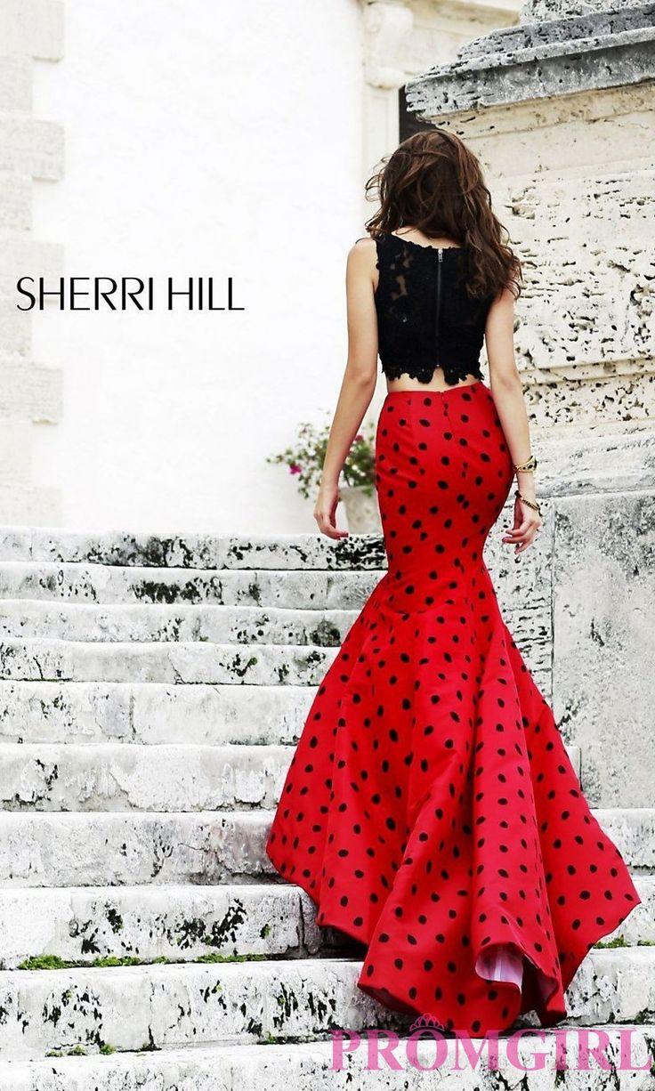 Prom Dresses, Plus Size Dresses, Prom Shoes -PromGirl   : Long Two Piece Polka Dot Dress