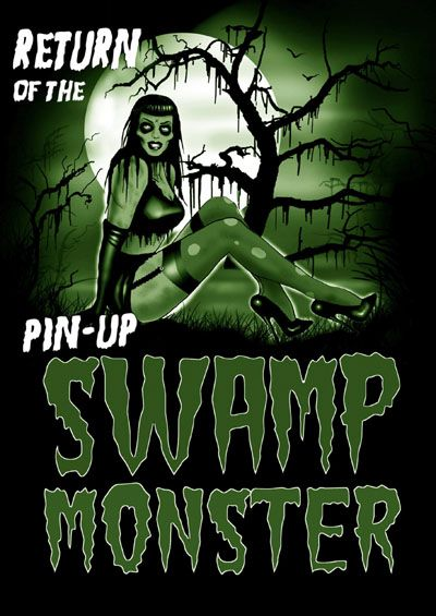 Swamp Monster Zombie Pin-Up 12x18 art Poster from Too Fast Clothing #swamppinup