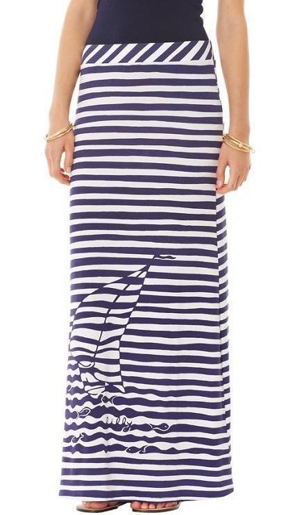 Lilly Pulitzer Marnie Maxi Skirt in Bright Navy Yacht Yard