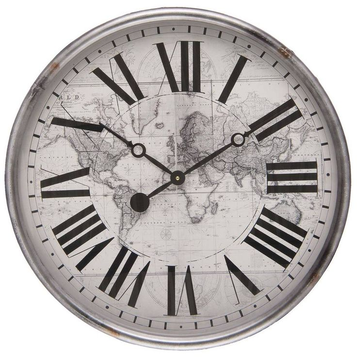 Vintage nostalgische ronde klok met wereldkaart zilver, grijs-wit zwarte romeinse cijfers. Industriële landelijke ronde klokken.