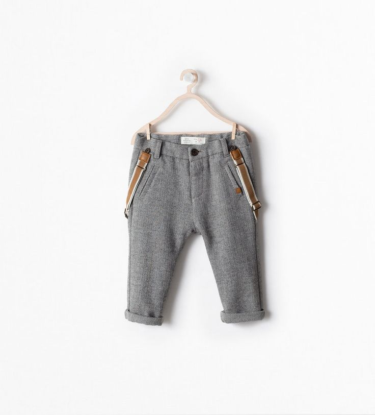 Image 1 of LINED HERRINGBONE TROUSERS WITH SUSPENDERS from Zara