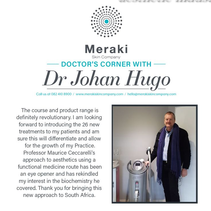 Doctor's Corner Dr Johan Hugo: The course and product range is definitely revolutionary. I am looking forward to introducing the 26 new treatments to my patients and am sure this will differentiate and allow for the growth of my Practice. Professor Maurice Ceccarelli's approach to aesthetics using a functional medicine route has been an eye opener and has rekindled my interest in the biochemistry he covered. Thank you for bringing this new approach to South Africa. For more information visit…