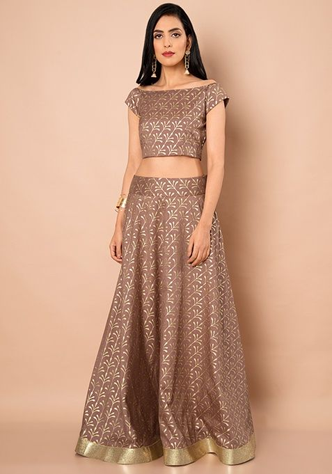 ac669e7f2 Old Rose Foil Boat Neck Silk Crop Top #Navy #Fashion #FabAlley #RoseFoil  #BoatNeck #CropTop #Indya #TraditionalDress #IndoWestern #Trending