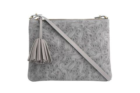 Crossbody Editors Pouch Flower Party in grey Executed in a monochromatic graphic floral, this pouch plays well with other prints.  Sling it crossbody, or tuck this versatile bag under your arm like a clutch.