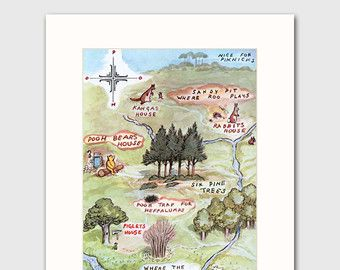 Nursery Art Print w/Mat Winnie the Pooh Baby by CloudNinePrints